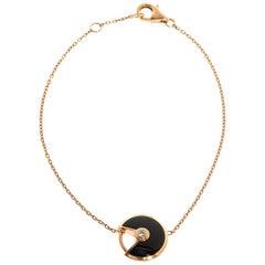 Cartier Amulette De Cartier Onyx Diamond 18K Rose Gold Bracelet XS