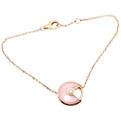 Cartier Amulette Pink Opal Diamond Rose Gold XS Model Bracelet