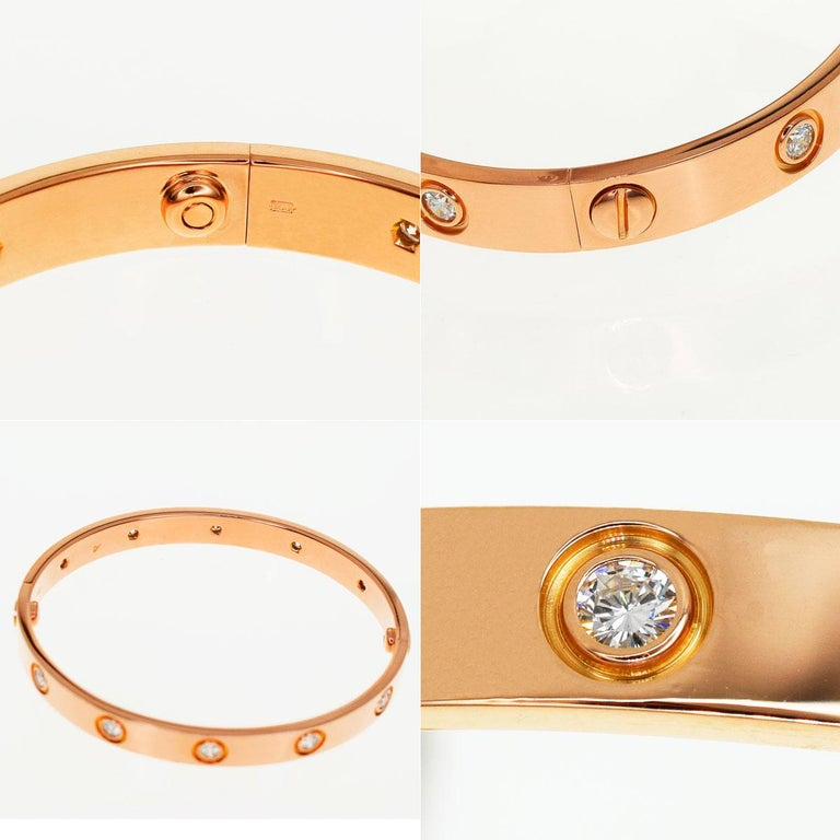 Cartier Anniversary 150 Years Limited 300 Diamonds Love Bracelet Pink Gold In Good Condition For Sale In Tokyo, JP