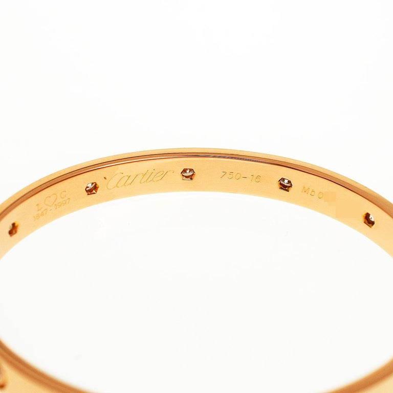 Women's Cartier Anniversary 150 Years Limited 300 Diamonds Love Bracelet Pink Gold For Sale