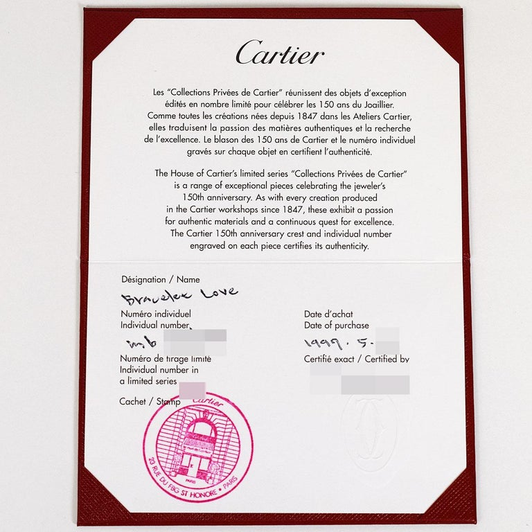 Cartier Anniversary 150 Years Limited 300 Diamonds Love Bracelet Pink Gold For Sale 4