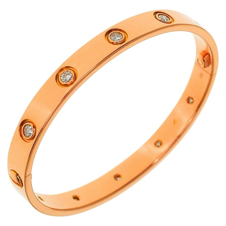 Cartier Anniversary 150 Years Limited 300 Diamonds Love Bracelet Pink Gold For Sale
