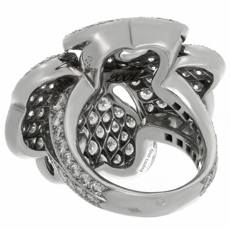 Cartier Anniversary Edition 10 Carat Diamond White Gold Clover Ring For Sale 3