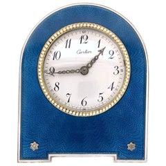 Cartier Antique Blue Enamel Desk Clock with Rose Cut Diamond, circa 1910