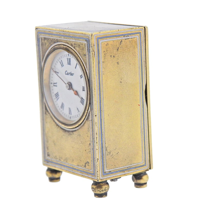 Cartier Antique Sterling Silver Desk Travel Clock In Excellent Condition For Sale In New York, NY