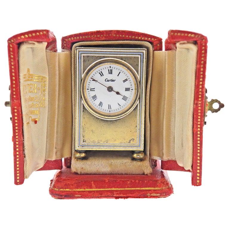 Cartier Antique Sterling Silver Desk Travel Clock For Sale