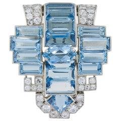 Cartier Aquamarine and Diamond Brooch
