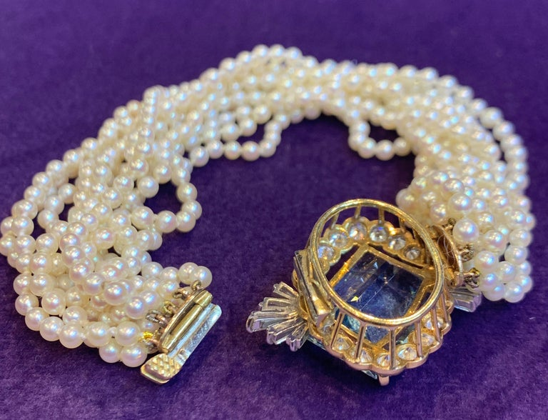 Cartier Aquamarine, Diamond and Pearl Multi-Strand Bracelet In Excellent Condition In New York, NY
