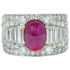 Cartier Art Deco 9.85 Carat No Heat Burma Ruby Pave Diamond Platinum Band Ring