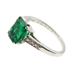 Cartier Art Deco AGL Certified Platinum Diamond Ring
