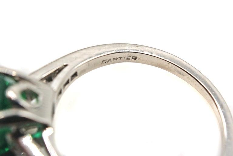 Women's or Men's Cartier Art Deco AGL Certified Rare No Oil Emerald Carat Platinum Diamond Ring For Sale