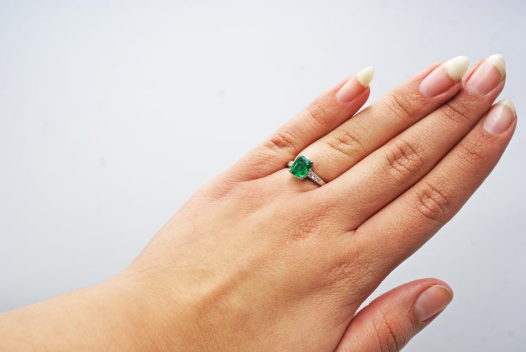 Cartier Art Deco AGL Certified Rare No Oil Emerald Carat Platinum Diamond Ring For Sale 1