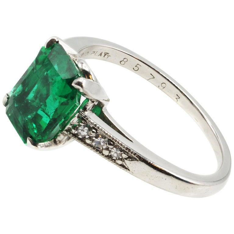 Cartier Art Deco AGL Certified Rare No Oil Emerald Carat Platinum Diamond Ring For Sale