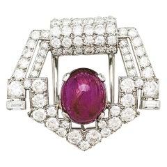 Cartier Art Déco Brooch, Platinum Diamonds and a Cabochon Ruby