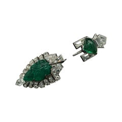 Cartier Art Deco Carved Emerald and Diamond Jabot Pin