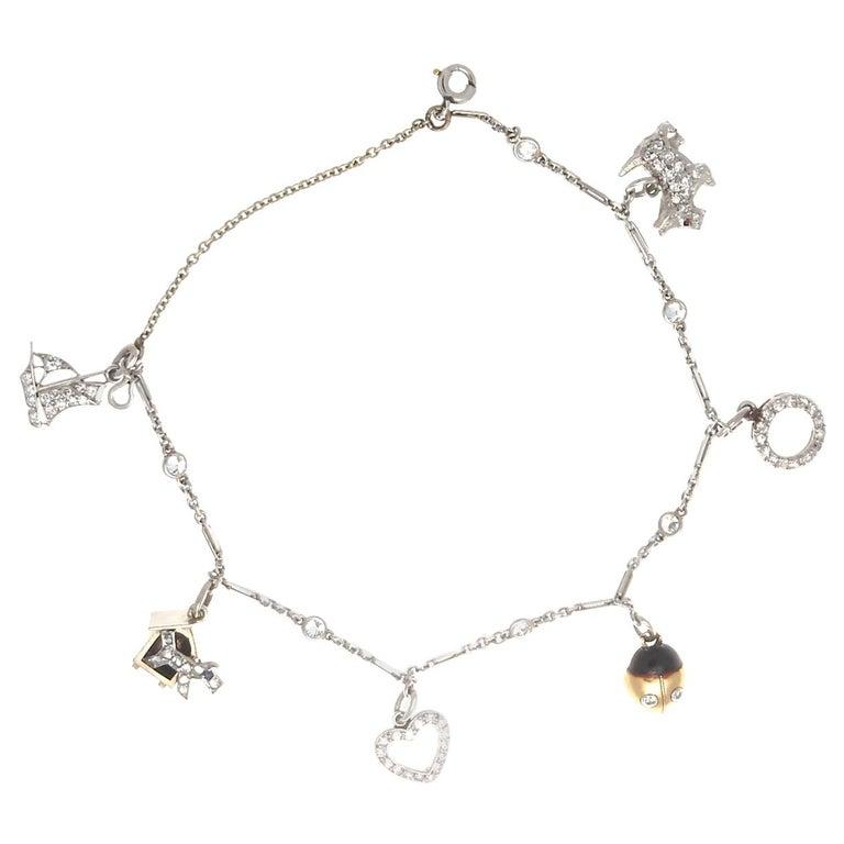 Art Deco Charm Bracelet For Sale