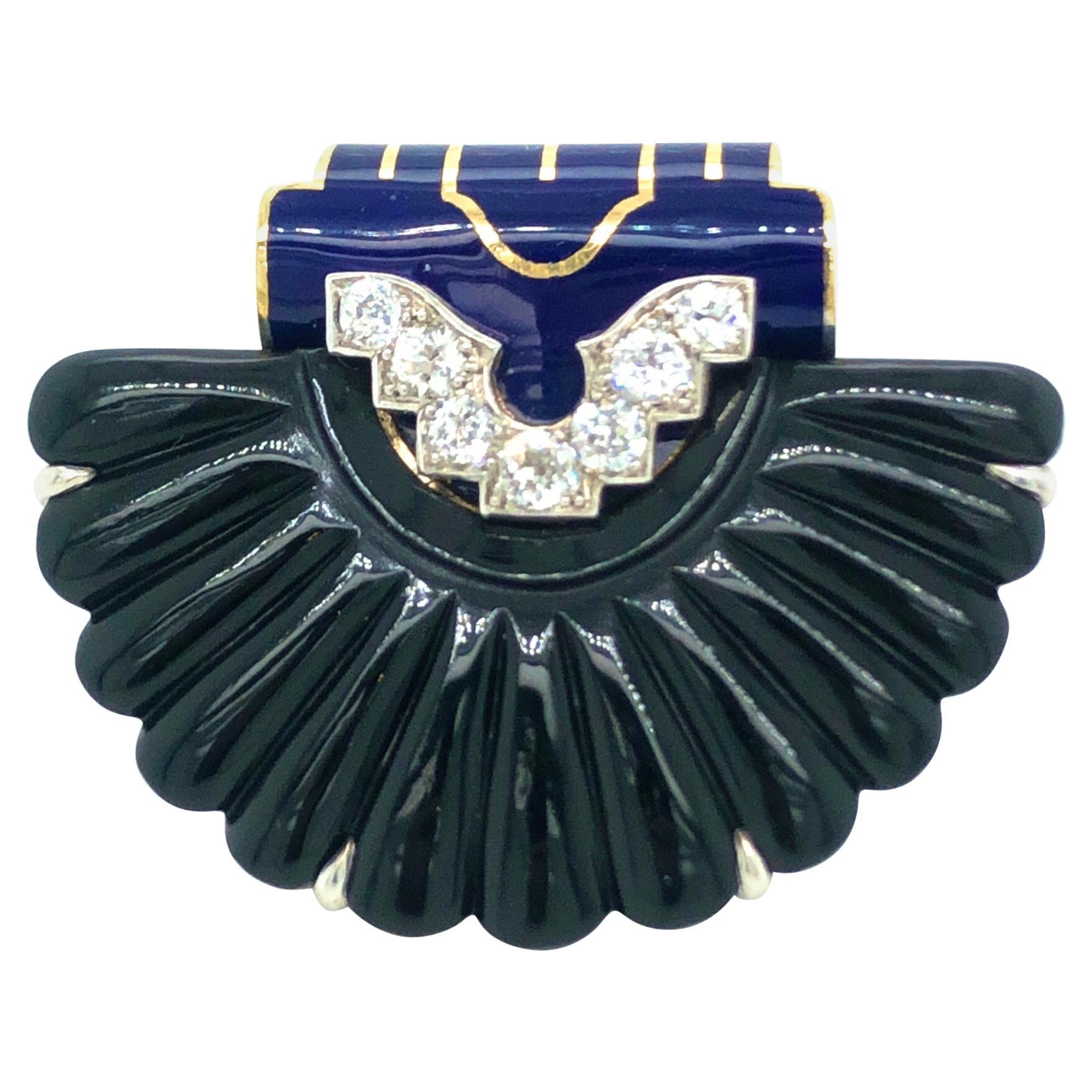 Cartier Art Déco Diamond Enamel Onyx Gold Clip Brooch