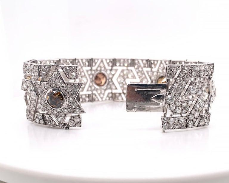 Round Cut Cartier Art Deco Diamond Platinum Bracelet For Sale