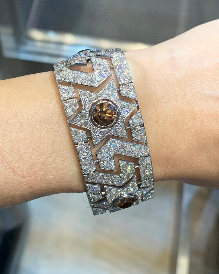 Cartier Art Deco Diamond Platinum Bracelet In Good Condition For Sale In New York, NY