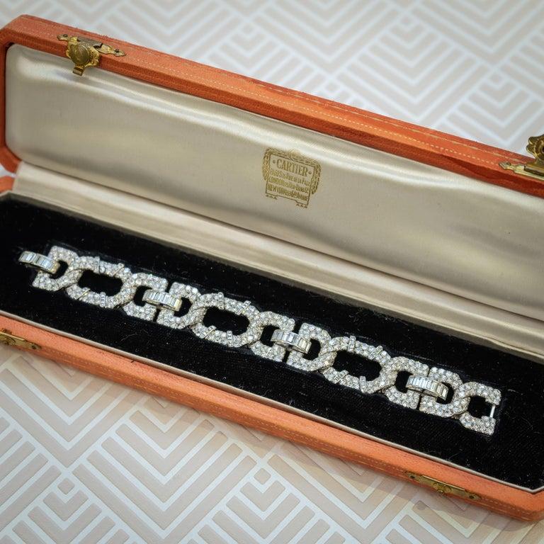 Women's Cartier Art Deco Diamond Platinum Bracelet For Sale