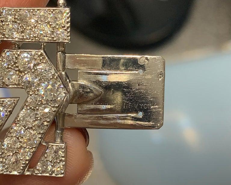 Cartier Art Deco Diamond Platinum Bracelet For Sale 2