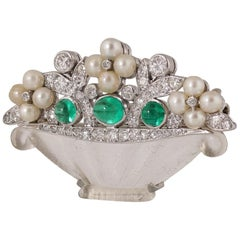 Cartier Art Deco Emerald Diamond Natural Pearls Flower Basket Brooch