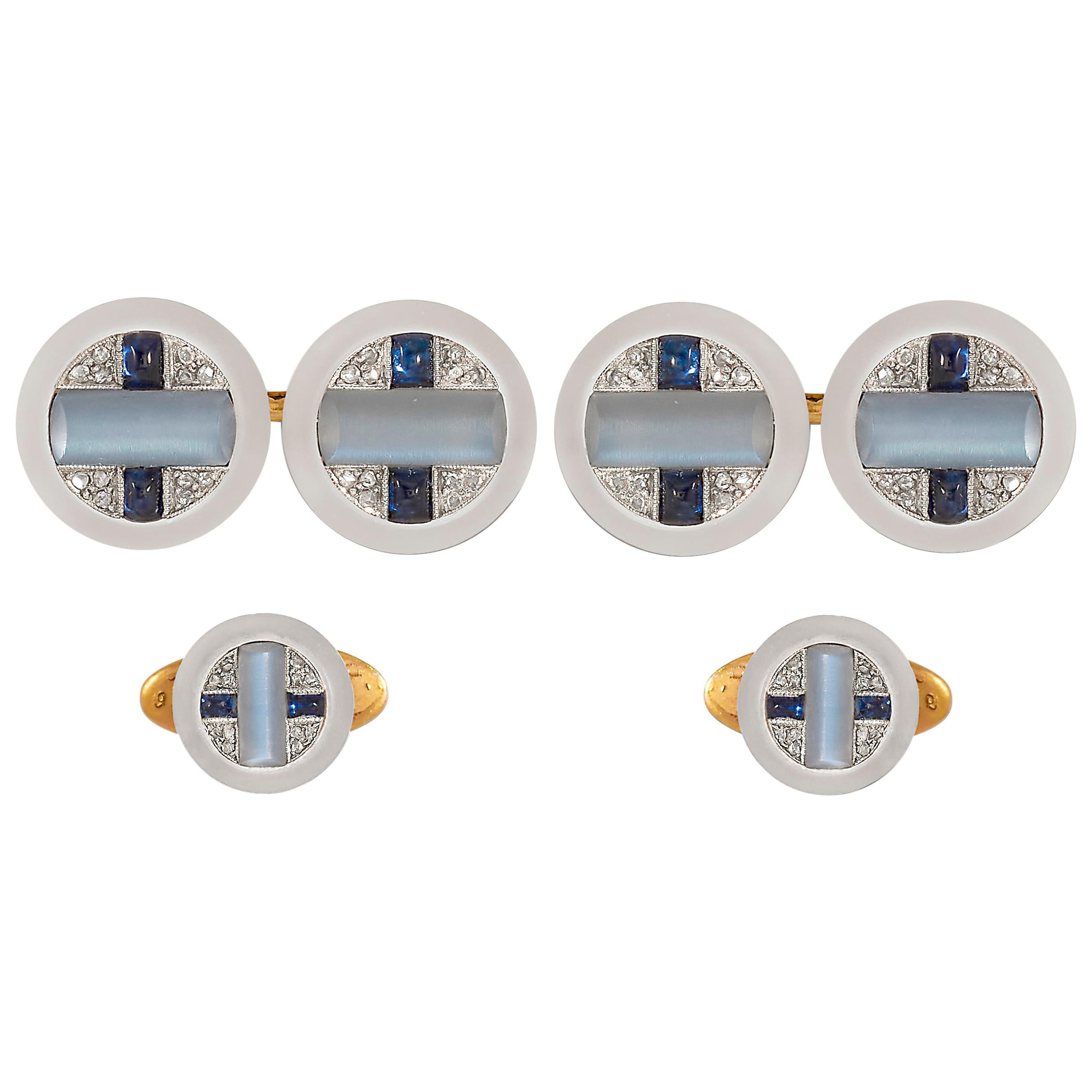 Cartier Art Deco Moonstone, Sapphire and Diamond Cufflinks and Studs
