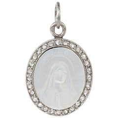 Cartier Antique Mother of Pearl Cameo Pendant with Diamonds Depicting Madonna