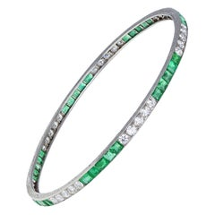 Cartier Art Deco Platinum Emerald Diamond Bangle Bracelet