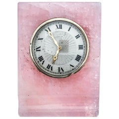 Cartier, Art Deco Rose Quartz Desk Clock