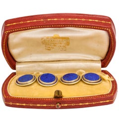 Cartier Art Deco Royal Blue Lapis Lazuli Enamel Gold Cufflinks Original Box