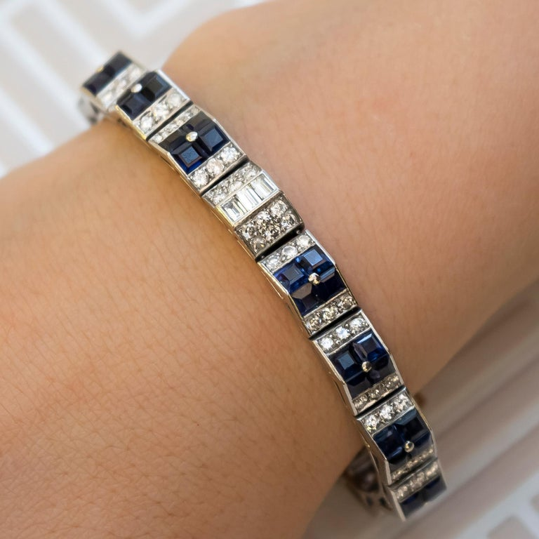Cartier Art Deco Sapphire and Diamond Bracelet In Excellent Condition For Sale In London, GB