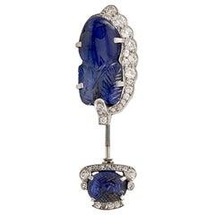 Cartier Art Deco Diamond Sapphire Platinum Convertible Jabot