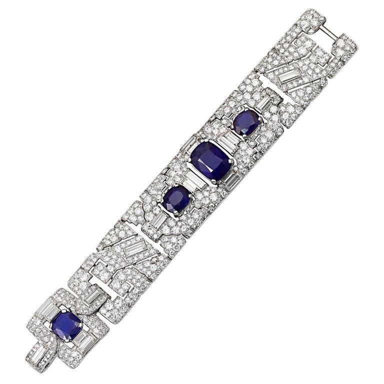 Women's Cartier Art Deco Sapphire Diamond Platinum Link Bracelet For Sale