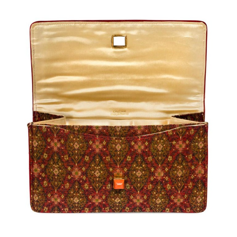 Cartier Art Deco Silk Purse with Gemstone Closure and Matching Accessories In Good Condition For Sale In New York, NY