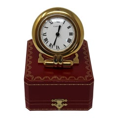 Cartier Art Deco Travel Quartz 24-Karat Gold-Plated Desk Clock Vintage