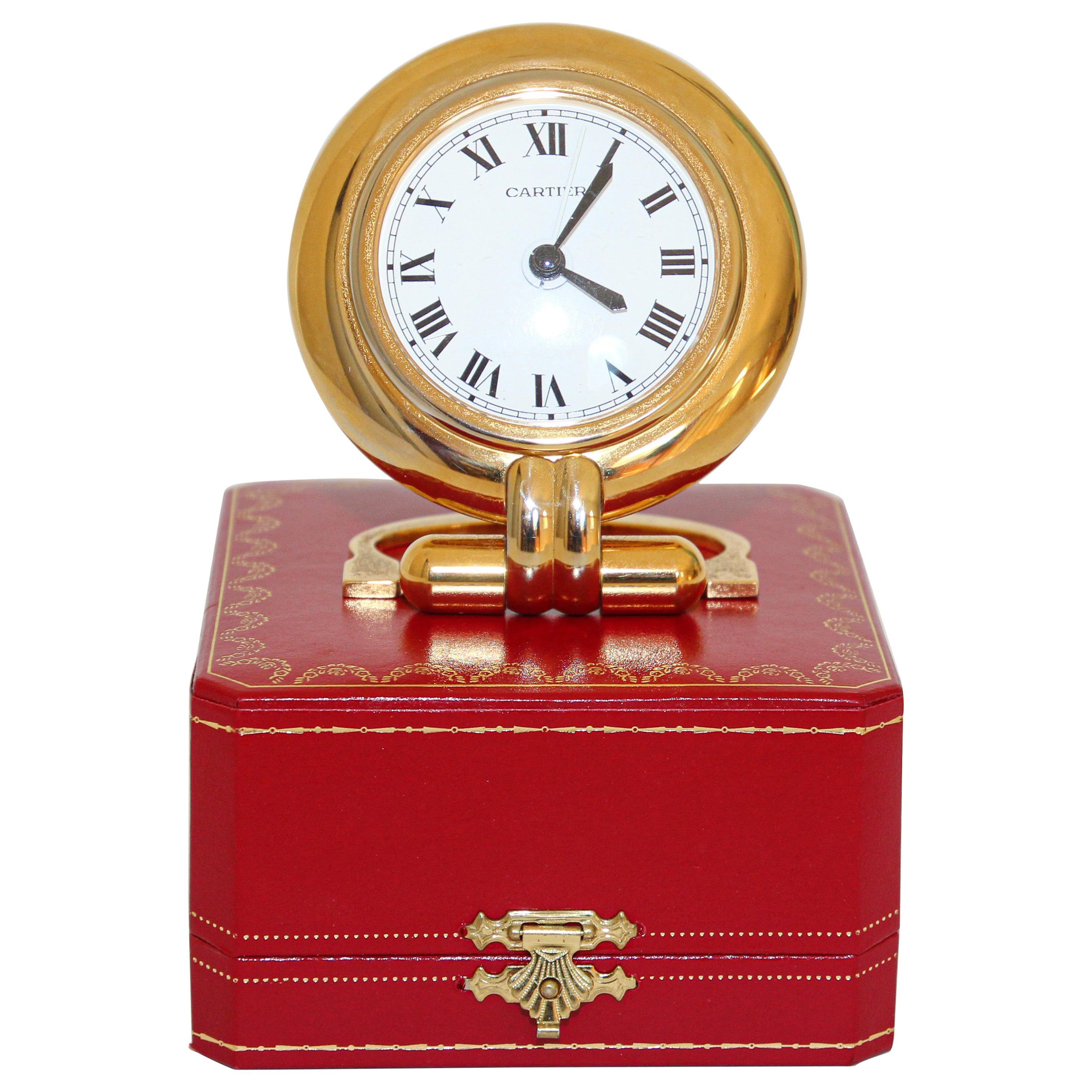 Cartier Art Deco Travel Quartz 24-Karat Gold-Plated Desk Clock Vintage