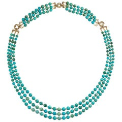 Cartier Art Deco Turquoise Bead Necklace, Convertible to Collar and Bracelet