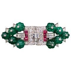 Cartier Art Deco Tutti Frutti Double Clip Brooch