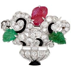 Cartier Art Deco Tutti Frutti Flower Vase Brooch, circa 1930s
