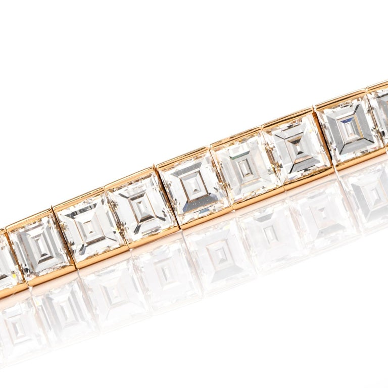 Art Deco Cartier Asscher Diamond 18 Karat Gold Line Tennis Bracelet