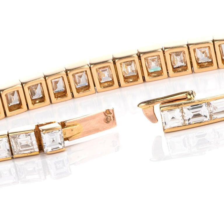 Asscher Cut Cartier Asscher Diamond 18 Karat Gold Line Tennis Bracelet
