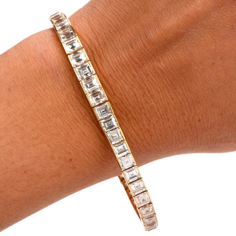 Cartier Asscher Diamond 18 Karat Gold Line Tennis Bracelet In Excellent Condition In Miami, FL
