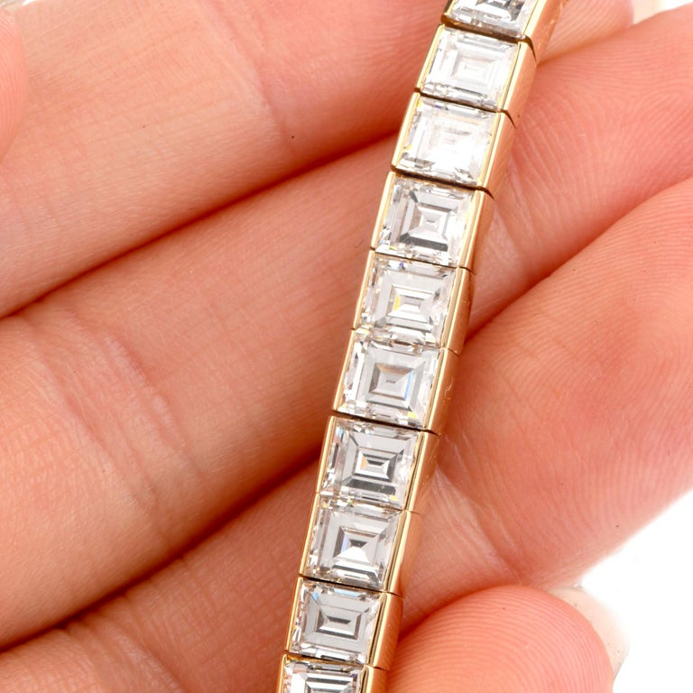 Women's or Men's Cartier Asscher Diamond 18 Karat Gold Line Tennis Bracelet