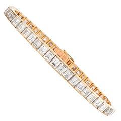 Cartier Asscher Diamond 18 Karat Gold Line Tennis Bracelet