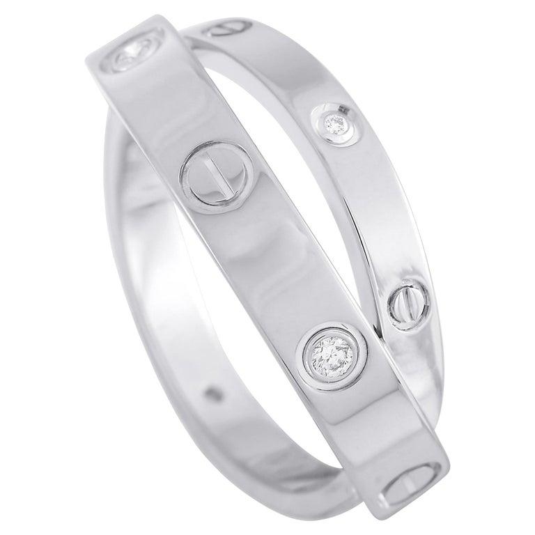 Cartier Astro Love 18 Karat White Gold Diamond Ring For Sale