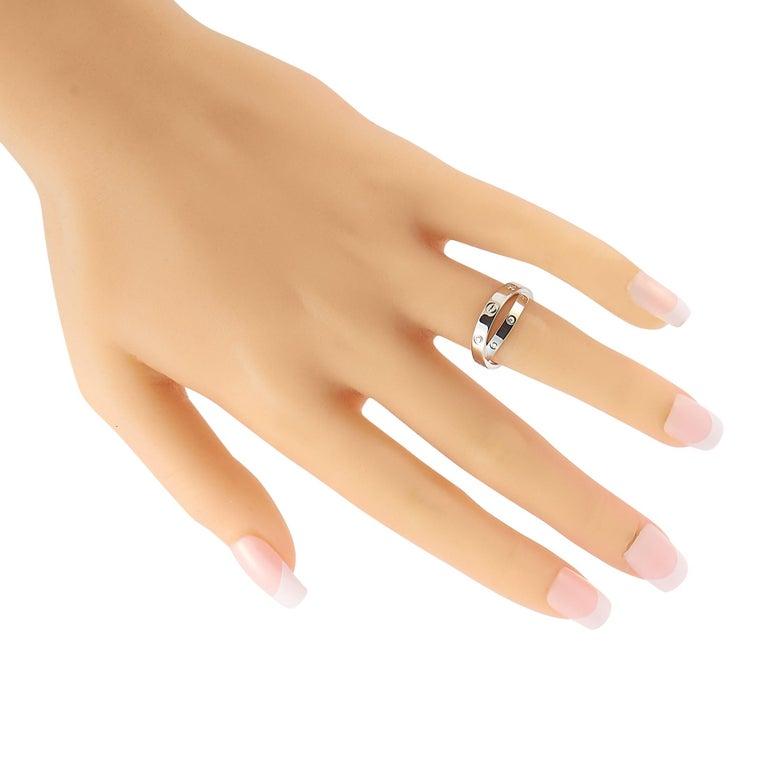 Round Cut Cartier Astro Love 18 Karat White Gold Diamond Ring For Sale