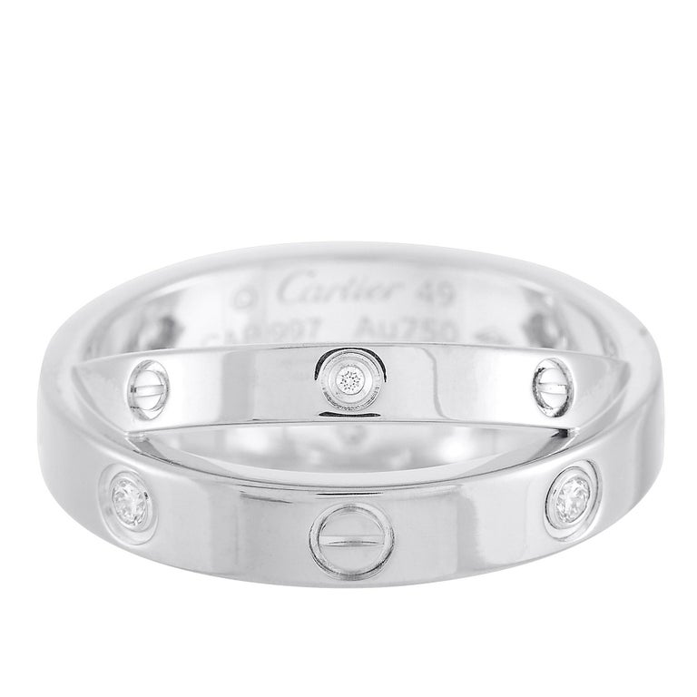 Cartier Astro Love 18 Karat White Gold Diamond Ring In Excellent Condition For Sale In Southampton, PA