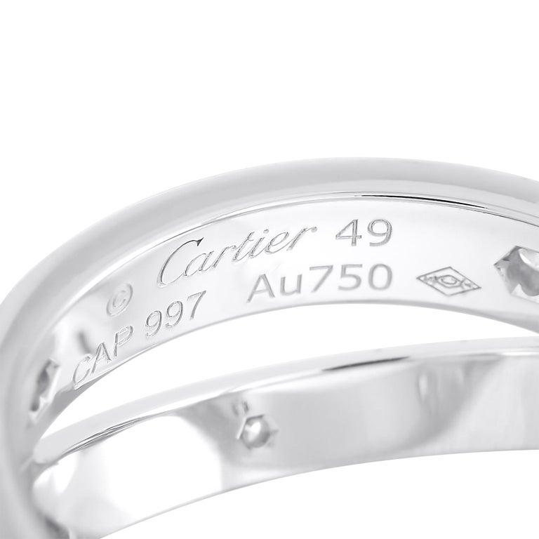Women's Cartier Astro Love 18 Karat White Gold Diamond Ring For Sale