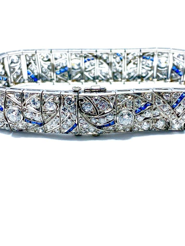 Round Cut Art Deco Round Diamond and Sapphire Platinum Bracelet For Sale